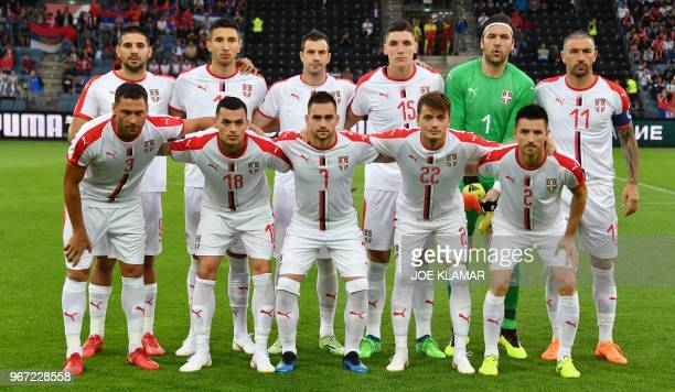 Serbian players pose for the team photo prior to the international friendly football match Serbia v Chile at the Merkur Arena in Graz Austria on June...