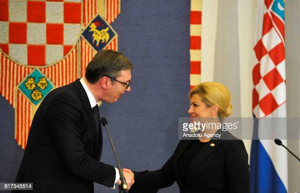 Serbian President Aleksandar Vucic and Croatian President Kolinda Grabar Kitarovic hold a press conference after their meeting at Presidency building...