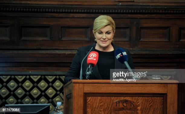 Serbian President Aleksandar Vucic and Croatian President Kolinda Grabar Kitarovic attend Croatia Serbia Economic Forum in Zagreb Croatia on February...