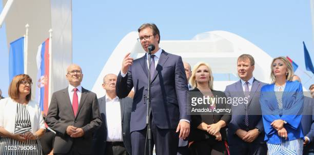 Serbian President Aleksandar Vucic and European Commissioner for European Neighbourhood Policy and Enlargement Negotiations Johannes Hahn attend the...