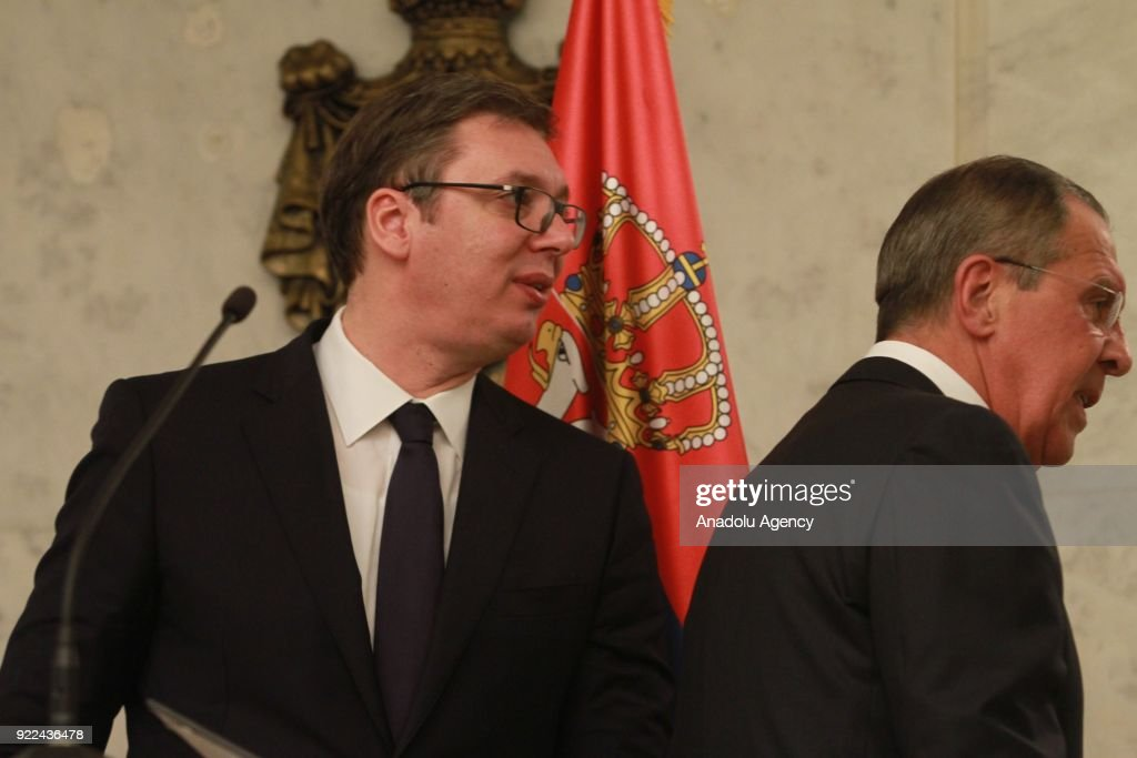 Serbian President Aleksandar Vucic (L) and Russian Foreign Minister Sergey Lavrov (R) hold a joint press conference following their meeting in Belgrade, Serbia on February 21, 2018.