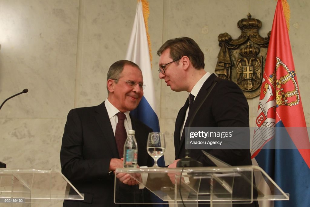 Serbian President Aleksandar Vucic (R) and Russian Foreign Minister Sergey Lavrov (L) shake hands after their joint press conference in Belgrade, Serbia on February 21, 2018.