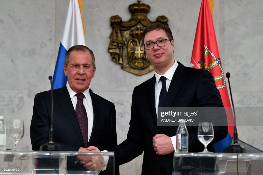 Serbian President Aleksandar Vucic (R) attends a joint press conference with Russian Foreign Minister Sergei Lavrov after their meeting in Belgrade on February 21, 2018. Russian Foreign Minister Sergei Lavrov visits Belgrade on the 180th anniversary of the establishment of diplomatic relations between Russia and Serbia. /