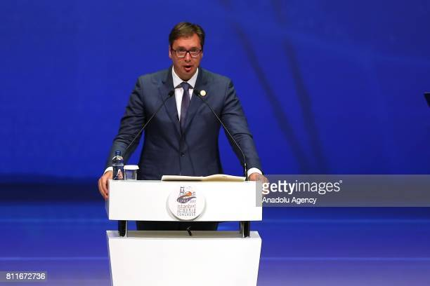 Serbian President Aleksandar Vucic delivers a speech during 22nd World Petroleum Congress the largest meeting of oil and gas industry at Istanbul...