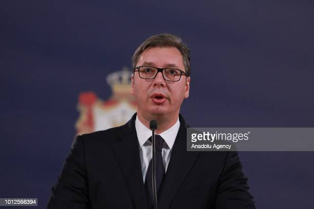 Serbian President Aleksandar Vucic delivers a speech during a press conference in Belgrade Serbia on August 7 2018