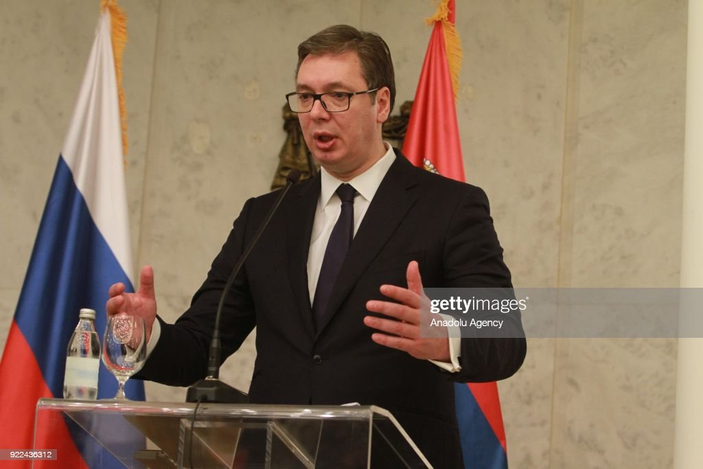 Serbian President Aleksandar Vucic makes a speech during a joint press conference with Russian Foreign Minister Sergey Lavrov (not seen) following their meeting in Belgrade, Serbia on February 21, 2018.