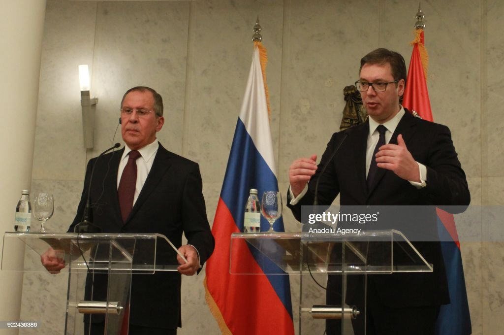 Sergey Lavrov - Aleksandar Vucic joint press conference in Belgrade : News Photo