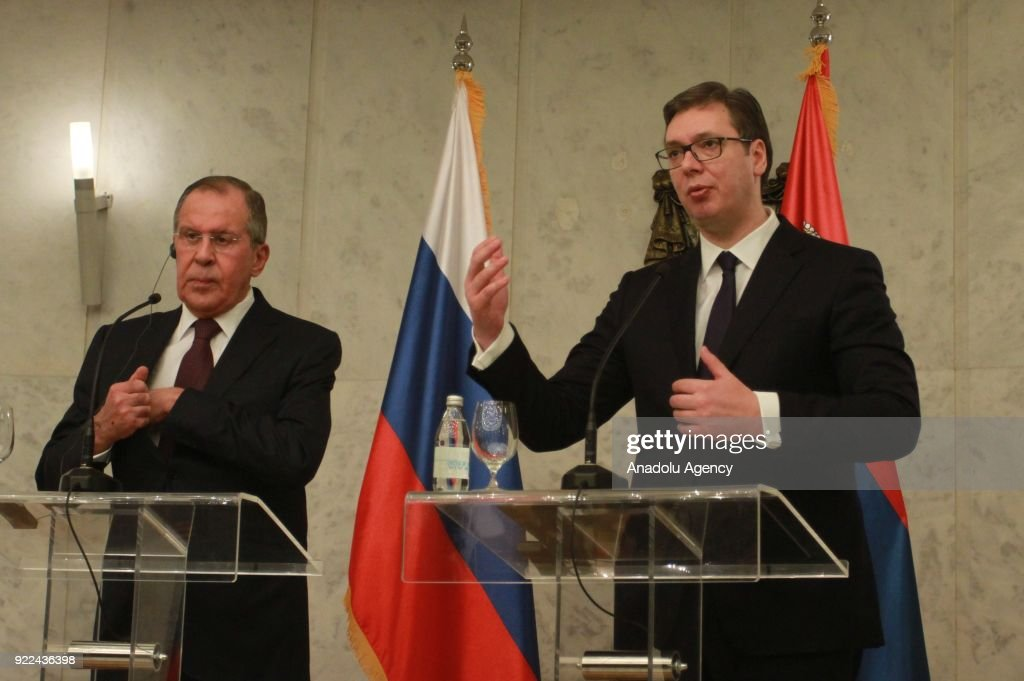 Serbian President Aleksandar Vucic (R) makes a speech during a joint press conference with Russian Foreign Minister Sergey Lavrov (L) following their meeting in Belgrade, Serbia on February 21, 2018.