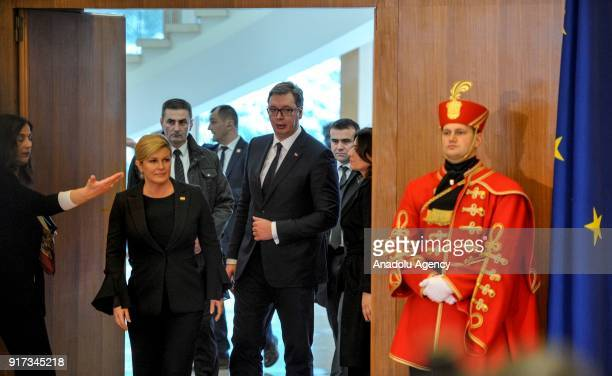 Serbian President Aleksandar Vucic meets Croatian President Kolinda Grabar Kitarovic at Presidency building in Zagreb Croatia on February 12 2018