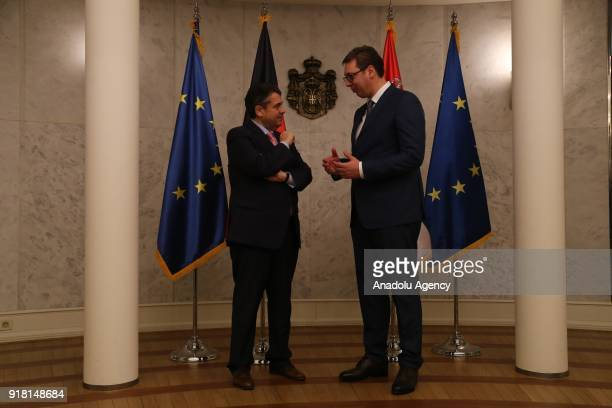 Serbian President Aleksandar Vucic meets German Foreign Minister Sigmar Gabriel in Belgrade Serbia on February 14 2018