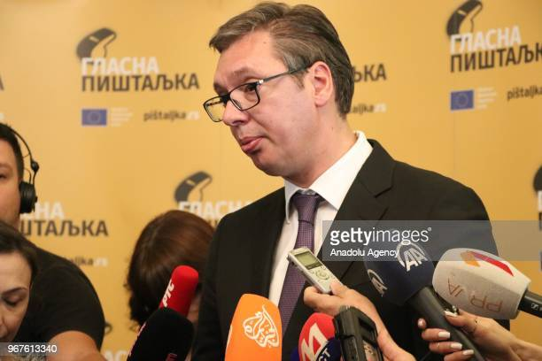 Serbian President Aleksandar Vucic speaks to media regarding the process of dialogue between Serbia and Kosovo after attending the conference on...
