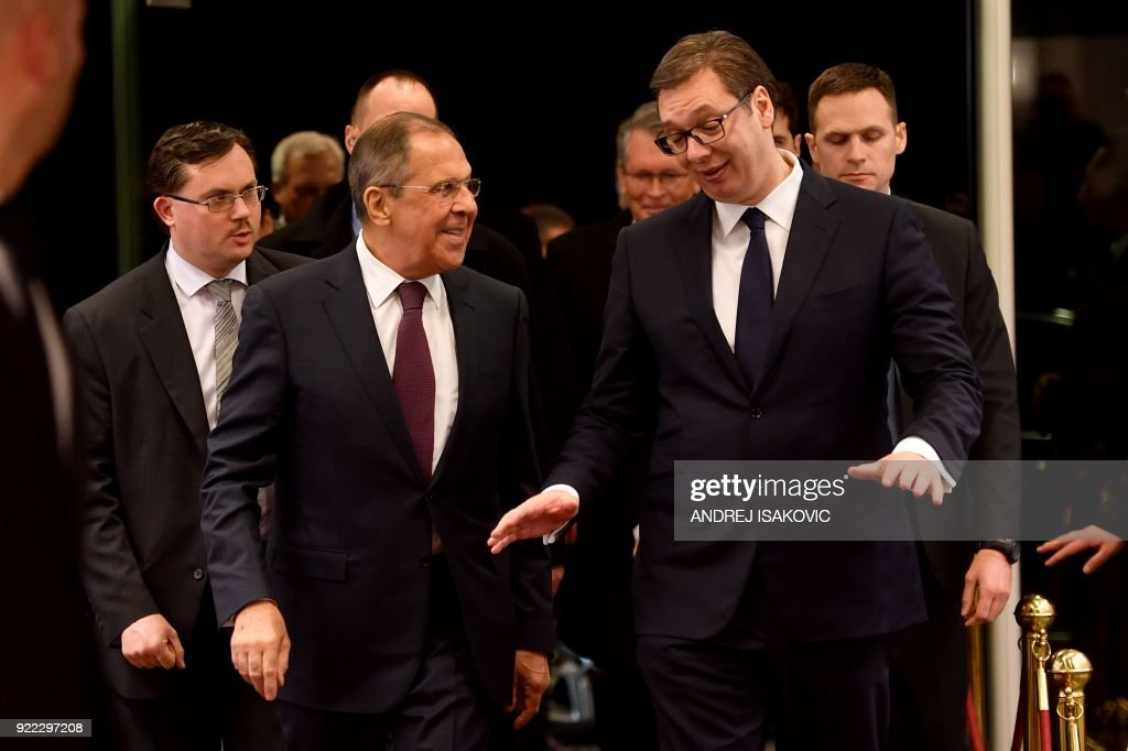 Serbian President Aleksandar Vucic (R) welcomes Russian Foreign Minister Sergei Lavrov ahead of their meeting in Belgrade on February 21, 2018. Russian Foreign Minister Sergei Lavrov is visiting Be...