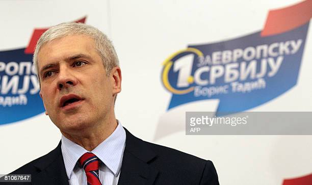 Serbian President and leader of Democratic Party Boris Tadic speaks during a press conference in Belgrade on May 11 2008 Tadic the flagbearer for a...