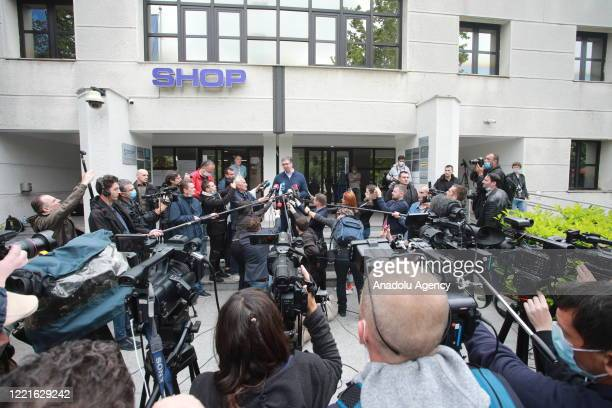 Serbian President and Leader of Serbian Progressive Party Aleksandar Vucic speaks to press following casting his vote at a polling station during...