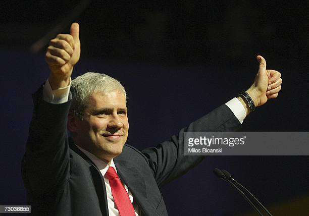 Serbian President and president of Democratic Party Boris Tadic gestures during a preelection rally at the Belgrade Arena January 18 2007 in Belgrade...