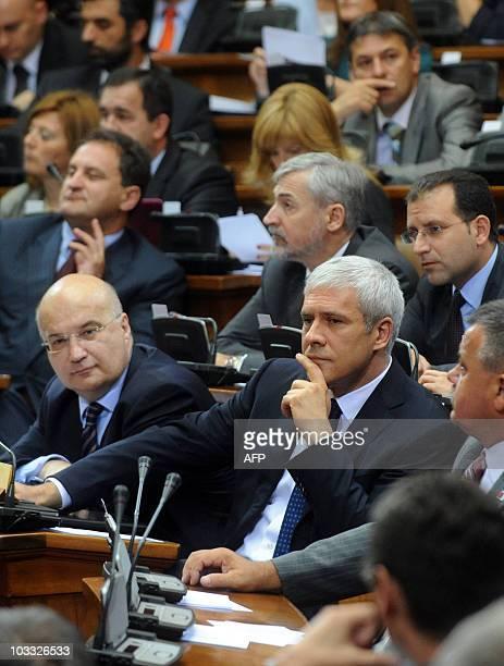 Serbian President Boris Tadic and head of Serbia's legal team Dusan Batakovic attend an extraordinary parliament session on July 26 in Belgrade The...