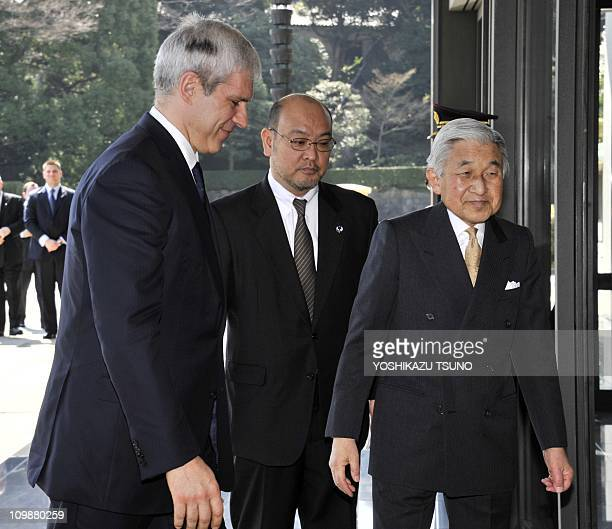 Serbian President Boris Tadic is greeted by Japanese Emperor Akihito for their luncheon at the Imperial Palace in Tokyo on March 9 2011 Tadic is on a...