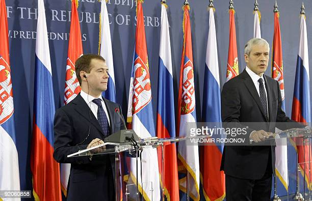 Serbian President Boris Tadic speaks during a press conference with Russian President Dmitry Medvedev in Belgrade on October 20 2009 Medvedev arrived...