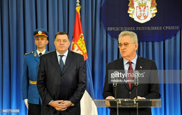 Serbian President Tomislav Nikolic and President of Republika Srpska Milorad Dodik attend a press conference about the decision of International...