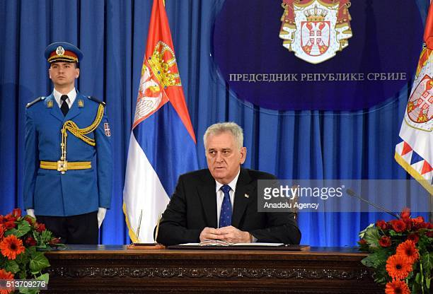 Serbian President Tomislav Nikolic delivers a speech after signing a decision to dissolve the parliament and schedule snap parliamentary elections...