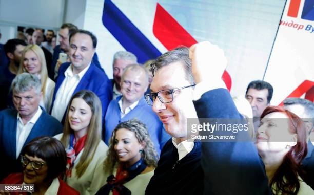 Serbian Presidentelect Aleksandar Vucic celebrates after declaring a victory on April 2 2017 in Belgrade Serbia According to the research Vucic won...