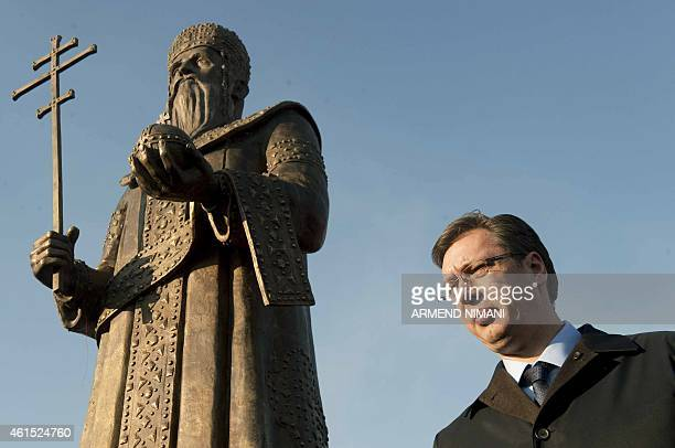 Serbian Prime Minister Aleksandar Vucic attends an inauguration ceremony of the statue of Stefan Uros II Milutin Nemanjic also known as Kralj Milutin...