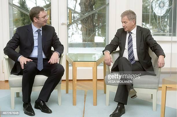 Serbian Prime Minister Aleksandar Vucic meets with Finnish President Sauli Niinistö in Helsinki on January 26 2015 OUT ***