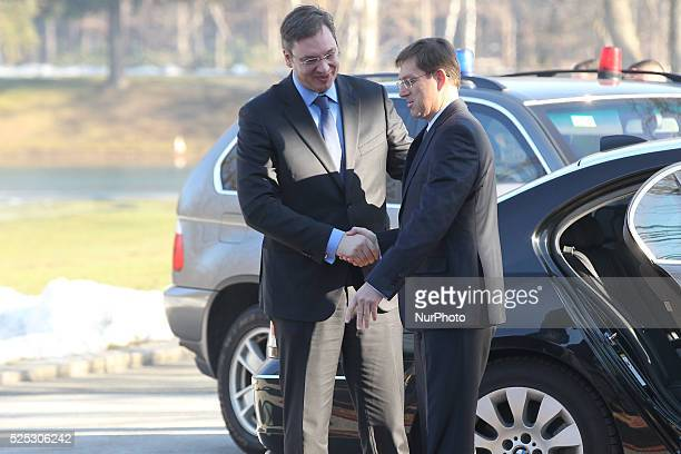 Serbian Prime Minister Aleksandar Vucic paying a visit to Slovenia hosted by Slovenian Prime Minister Miro Cerar Slovenia on Feb 20 2015