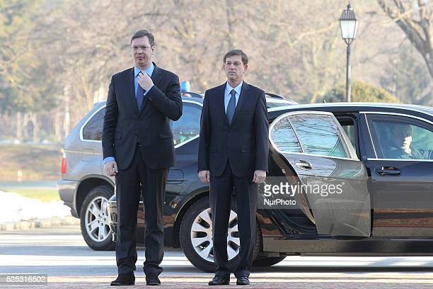 Serbian Prime Minister Aleksandar Vucic paying a visit to Slovenia, hosted by Slovenian Prime Minister Miro Cerar. Slovenia on Feb. 20, 2015.