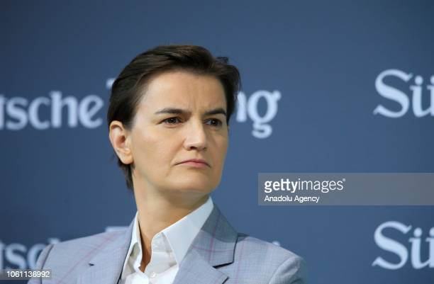 Serbian Prime Minister Ana Brnabic attends a session within the 12th Economic Summit in Berlin Germany on November 13 2018