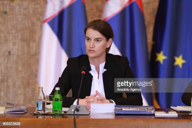 Serbian Prime Minister Ana Brnabic makes a speech during a meeting with Japanese Prime Minister Shinzo Abe and Serbian President Aleksandar Vucic in...