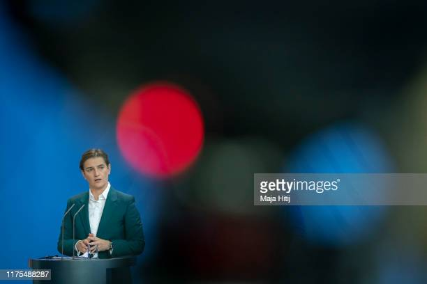 Serbian Prime Minister Ana Brnabic speaks at a a press conference after a meeting with the German Chancellor Angela Merkel at the Chancellery in...