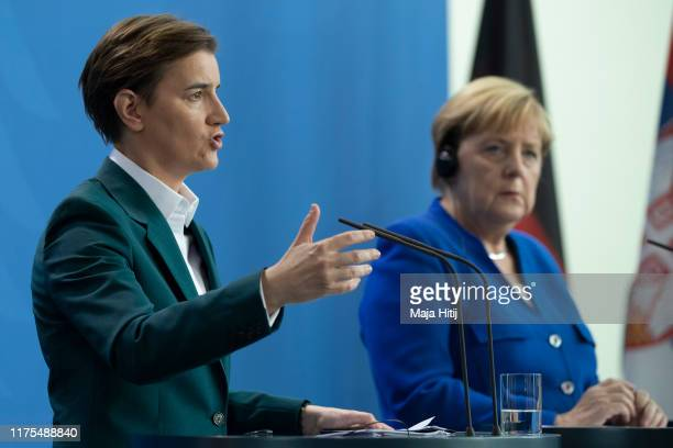 Serbian Prime Minister Ana Brnabic speaks at a press conference after a meeting with German Chancellor Angela Merkel at the Chancellery in Berlin on...