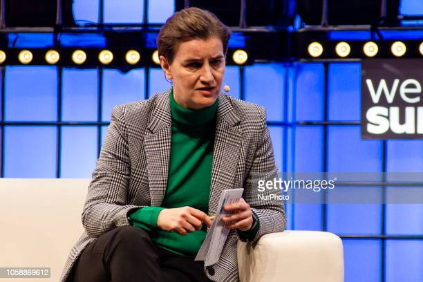 Serbian Prime Minister Ana Brnabic speaks during the Web Summit 2018 in Lisbon Portugal on November 6 2018