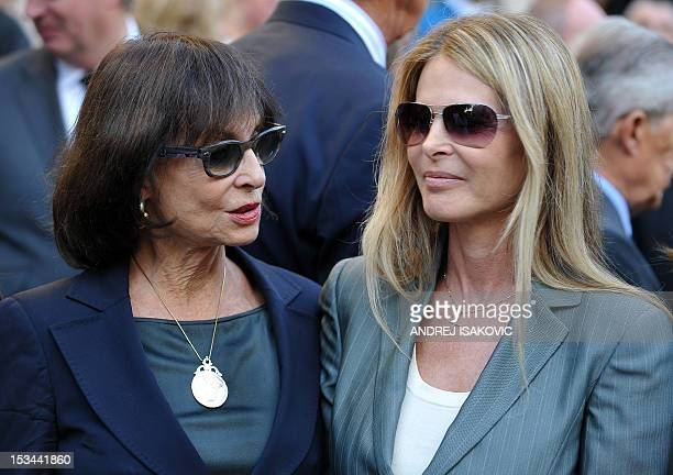 Serbian Princess Elizabeth Karadjordjevic and her daughter, actress Catherine Oxenberg, both members of the former Yugoslavia's royal family, wait...