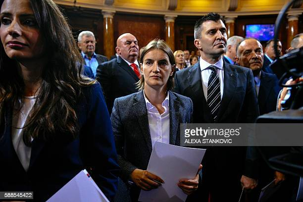 Serbian Public Administration Minister Ana Brnabic attends a swearingin ceremony at the Serbian Parliament in Belgrade on August 11 2016 Serbian...