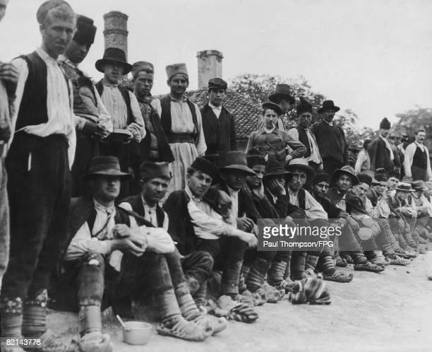 Serbian recruits at the barracks in Belgrade during World War I circa 1914