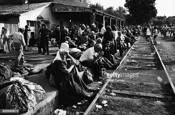 Serbian refugees wait for a train as they flee a Croat offensive in Krajina After the fall of Communism in 198990 Yugoslavia broke into Croatia...