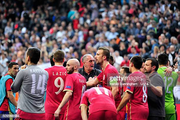 Serbian team look dejected after losing during the UEFA Futsal EURO 2016 semi final match between Serbia and Russia at Arena Belgrade on February 11,...