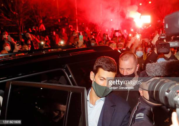 Serbian tennis player Novak Djokovic accompanied by his parents celebrates 311 weeks as world number one with his family and supporters in front of...
