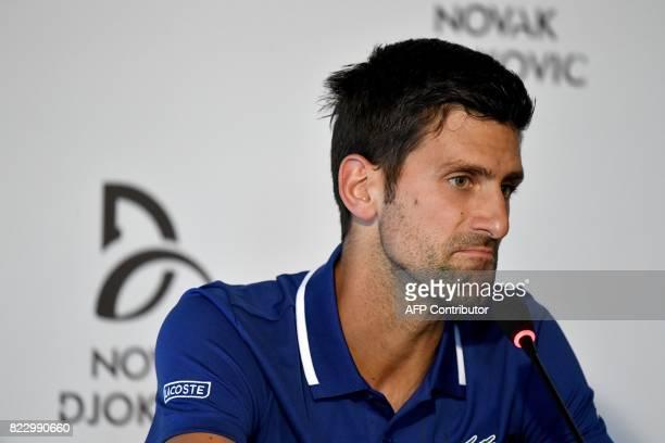 Serbian tennis player Novak Djokovic delivers a press conference in Belgrade on July 26 2017 Twelvetime Grand Slam champion Novak Djokovic will miss...