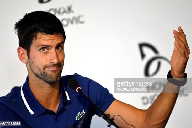 Serbian tennis player Novak Djokovic gestures as he speaks during a press conference in Belgrade on July 26 2017 Twelvetime Grand Slam champion Novak...