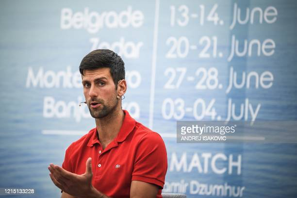 Serbian tennis player Novak Djokovic gives a press conference on the upcoming Adria Tour tennis tournament in Belgrade on May 25 2020 Djokovic will...