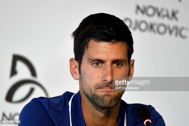 Serbian tennis player Novak Djokovic speaks during a press conference in Belgrade on July 26 2017 Twelvetime Grand Slam champion Novak Djokovic will...
