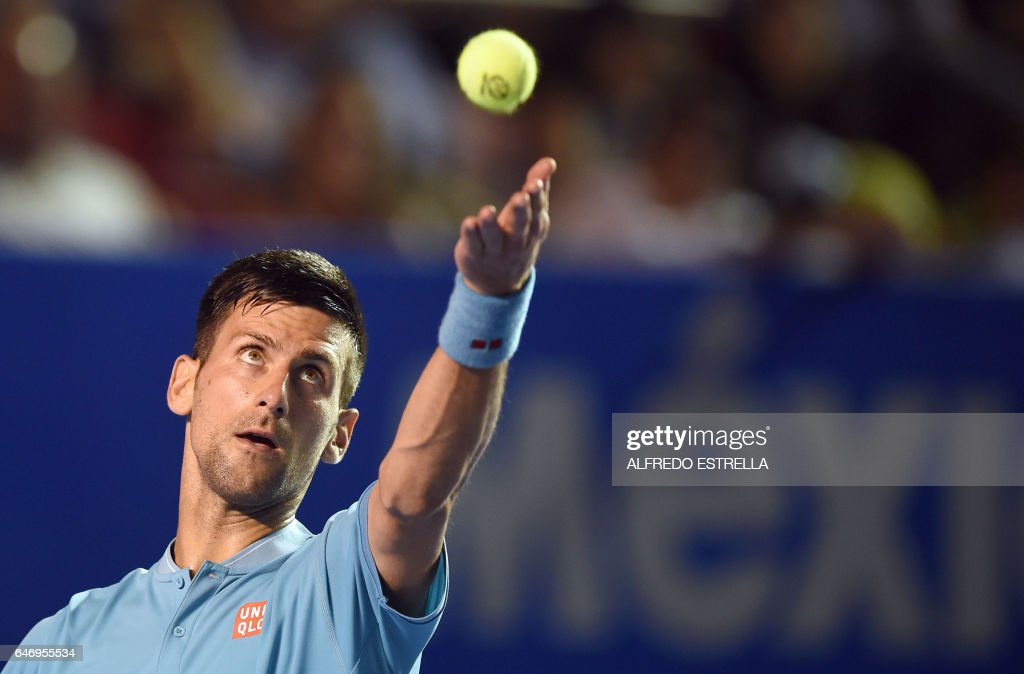 Serbian tennis player Novak Djokovik serves to Argentinian tennis player Juan Martin del Potro during the third day of the Mexican Tennis Open, in Acapulco, Guerrero State, Mexico, on March 1, 2017. /