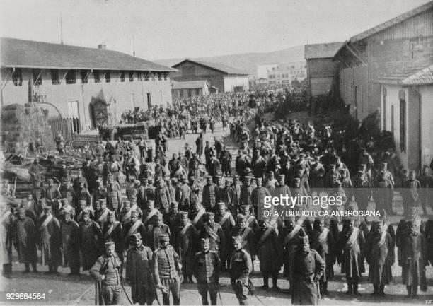 Serbian troops boarding a ship for Durres Thessaloniki Greece First Balkan War from L'Illustrazione Italiana Year XL No 15 April 13 1913
