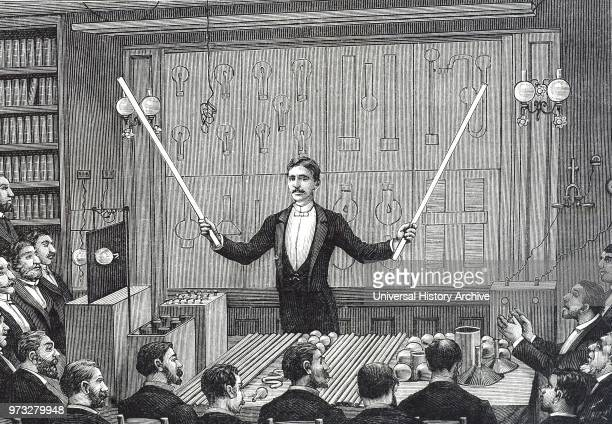 SerbianAmerican inventor Nikola Tesla addressing the Societe Francaise de Physique and the International Society of Electricians circa 1885 He is...