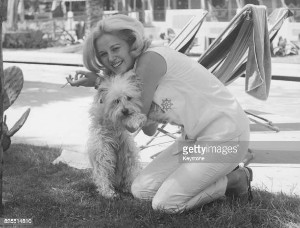 SerbianItalian actress Beba Loncar with a dog in Rome Italy 21st June 1965