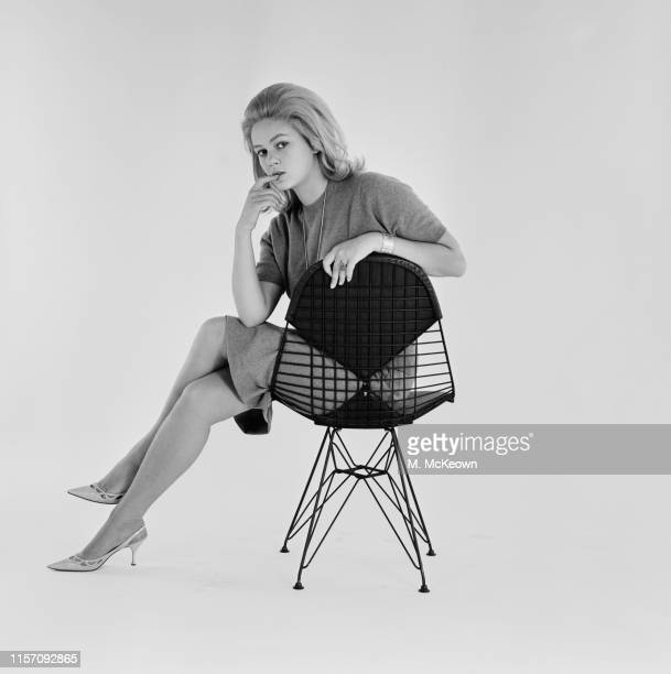 SerbianItalian film actress Beba Loncar sitting on a modern chair during a photo shoot UK 2nd August 1963