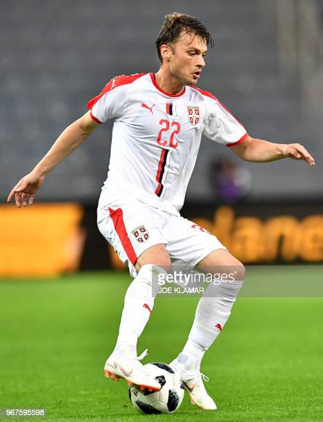 Serbia's Adem Ljajic controls the ball during the international friendly football match Serbia v Chile at the Merkur Arena in Graz Austria on June 4...